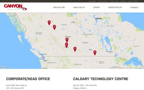 Screenshot of Locations Page canyontech.ca - Connect - Canyon Technical Services - captured Jan. 24, 2016