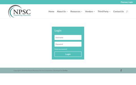 Screenshot of Login Page northeastpharmacy.com - Login - Northeast Pharmacy - captured Oct. 19, 2018