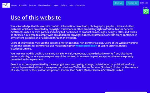 Screenshot of Terms Page saltiremarine.co.uk - Terms of Use – Saltire Marine Services - captured Oct. 2, 2018