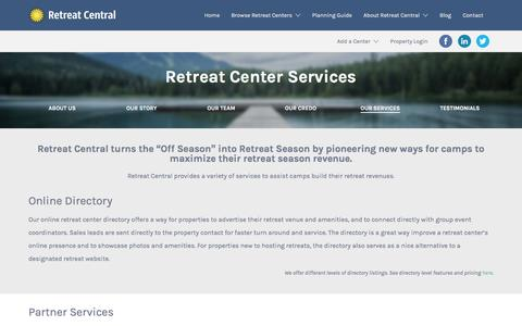 Screenshot of Services Page Pricing Page retreatcentral.com - Our Services | Retreat Central - captured Dec. 17, 2016