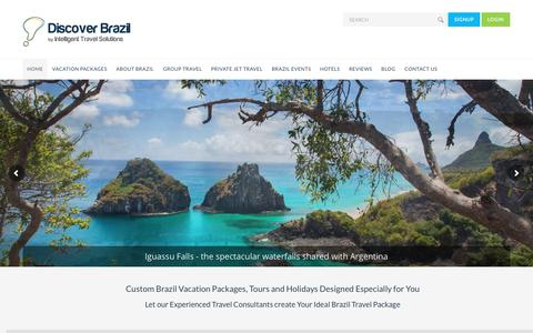 Screenshot of Home Page discoverbrazil.com - Custom Brazil Vacation Packages, Tours and Holidays - captured Dec. 19, 2018