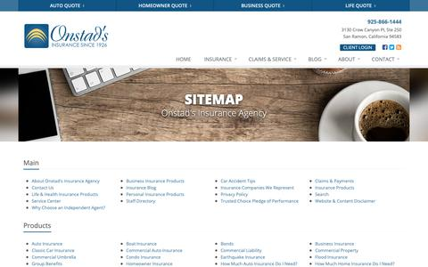 Screenshot of Site Map Page onstads.com - Insurance Website Sitemap | Onstad's Insurance Agency - captured Oct. 19, 2018