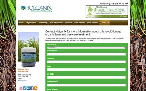 Screenshot of Contact Page holganix.com - Holganix - Company Contact Information - captured Sept. 16, 2014