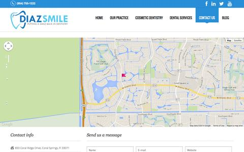 Screenshot of Contact Page coral-springs-dental.com - Contact us | Diaz Smile - captured Oct. 5, 2014