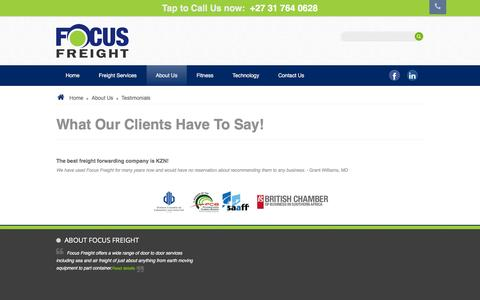 Screenshot of Testimonials Page focusfreight.co.za - Happy Clients - Focus Freight - captured Feb. 10, 2016