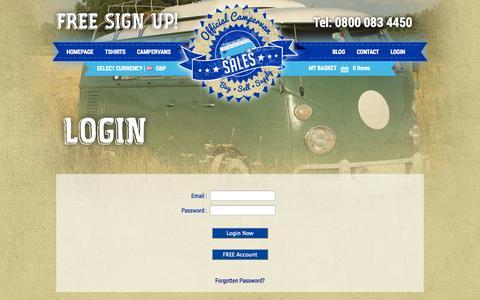 Screenshot of Login Page officialcampervansales.com - Membership Login - captured Sept. 23, 2014