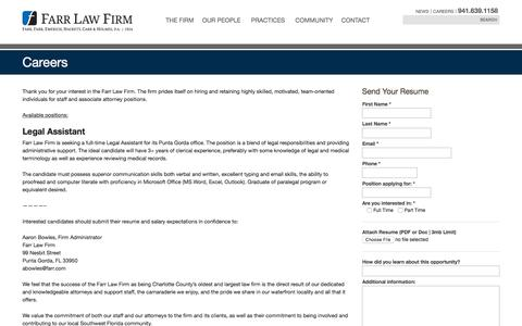 Screenshot of Jobs Page farr.com - Careers – Farr Law Firm - captured Oct. 13, 2017