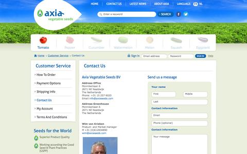 Screenshot of Contact Page Support Page axiaseeds.com - Contact us - Axia Vegetable Seeds - captured Oct. 23, 2014