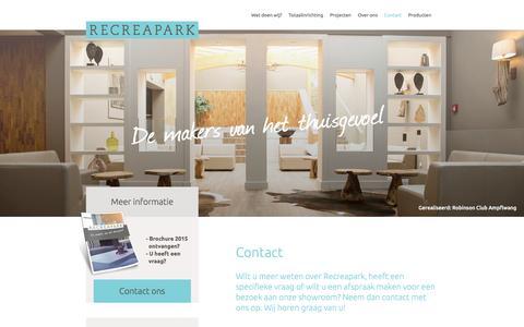 Screenshot of Contact Page recreapark.nl - Contact - Recreapark - captured Jan. 12, 2016