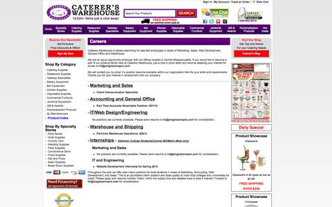 Screenshot of Jobs Page catererswarehouse.com - Careers and Job Postings | Caterers Warehouse - captured Sept. 29, 2014