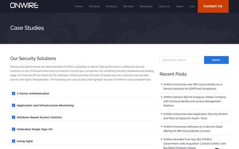 Screenshot of Case Studies Page onwireco.com - Case Studies | OnWire – Identity and Access Management Services and Cloud Solutions - captured Oct. 20, 2018