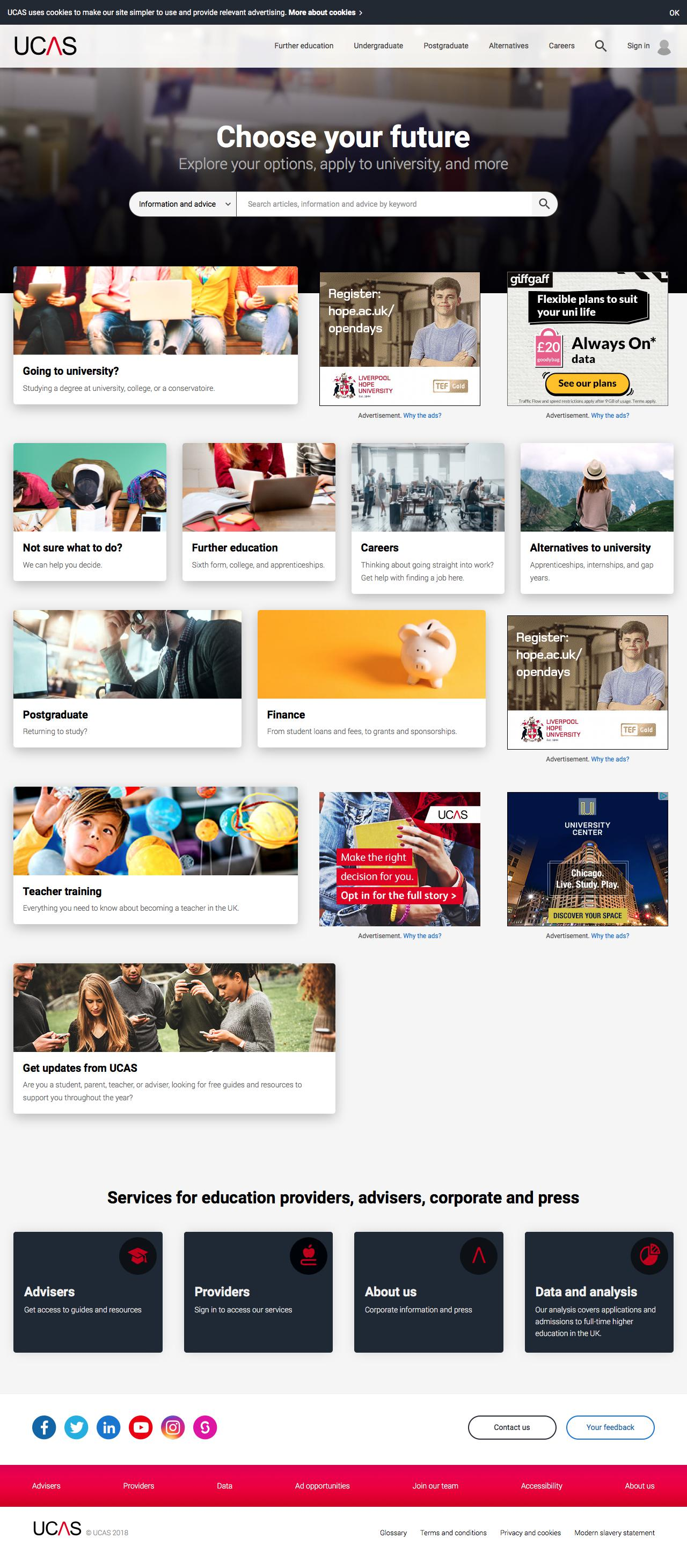 Screenshot of ucas.com - UCAS | At the heart of connecting people to higher education - captured June 4, 2018