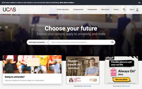 Screenshot of Home Page ucas.com - UCAS | At the heart of connecting people to higher education - captured June 4, 2018