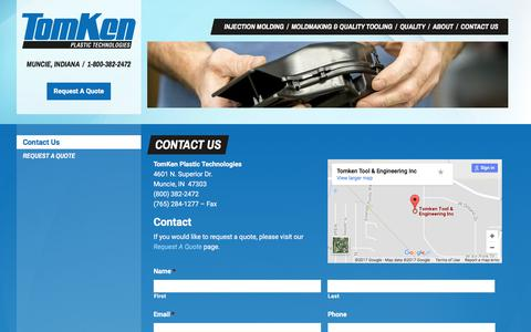 Screenshot of Contact Page tomkenplastics.com - Contact Us | TomKen Plastic Technologies - captured Oct. 27, 2017