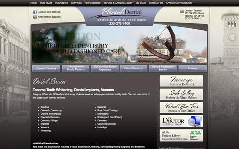Screenshot of Services Page oldtacomadentist.com - Dental Services - General and Cosmetic Dentistry from Gregory J Plancich, DDS - captured Oct. 2, 2014