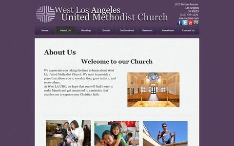 Screenshot of About Page wlaumc.com - About Us - West Los Angeles United Methodist Church - captured Oct. 1, 2014