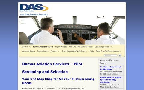 Screenshot of Home Page damosaviation.com - Pilot Hiring and Screening Consulting Services. Expert witness. - captured Oct. 5, 2014