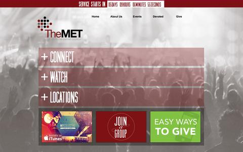 Screenshot of Home Page themetonline.org - The MET Church - captured Oct. 7, 2014
