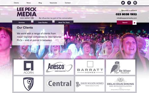 Screenshot of Press Page leepeckmedia.com - Clients | Lee Peck Media - captured Jan. 27, 2016