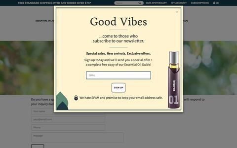 Screenshot of Contact Page 21drops.com - Contact 21 drops                         – 21 drops Essential Oils - captured Jan. 26, 2017