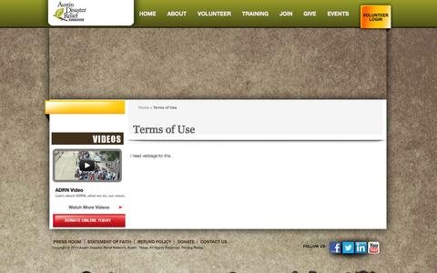 Screenshot of Terms Page adrntx.org - Terms of Use   Austin Disaster Relief Network - captured Oct. 4, 2014