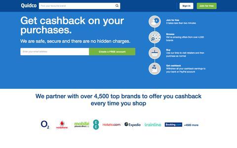 Screenshot of Home Page quidco.com - Quidco - The UK's #1 Cashback & Voucher Codes Site - captured Sept. 15, 2019