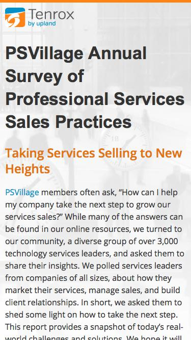 Tenrox PSVillage Annual Survey of Professional Services Sales Practives