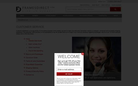 Screenshot of Support Page framesdirect.com - FramesDirect.com Customer Service: Help Ordering Glasses Online - captured Jan. 13, 2016