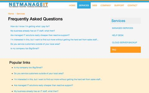 Screenshot of FAQ Page netmanageit.com - Frequently Asked Questions | NetManageIT - captured Feb. 26, 2016