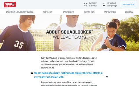 Screenshot of About Page squadlocker.com - About SquadLocker - SquadLocker History - What We Do - captured July 27, 2019
