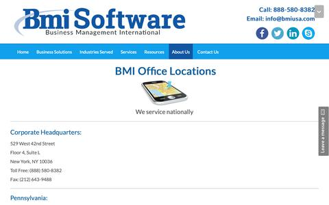 Screenshot of Locations Page bmiusa.com - Business Management International Office Locations - captured Oct. 7, 2018
