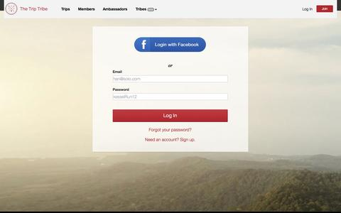 Screenshot of Login Page thetriptribe.com - Log In — The Trip Tribe - captured Sept. 23, 2014