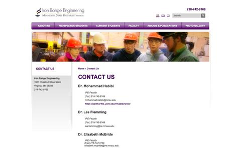 Screenshot of Contact Page mnscu.edu - Iron Range Engineering | Contact Us - captured Oct. 27, 2014