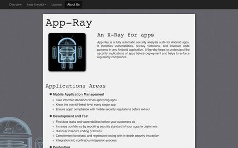 Screenshot of Home Page app-ray.de - App-Ray - Mobile App Security Scanning - captured March 25, 2016