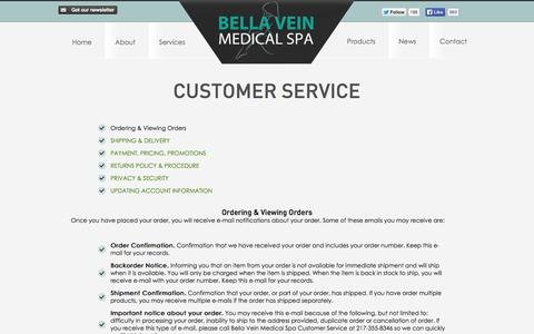 Screenshot of Support Page bellahealthcare.com - Customer Service - Bella Vein Health Care and Medical Spa - captured Oct. 5, 2014