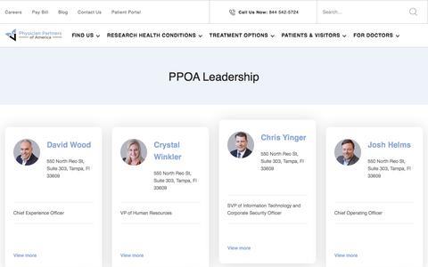 Screenshot of Team Page physicianpartnersofamerica.com - Leadership - PPOA - captured Feb. 20, 2020