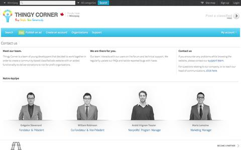Screenshot of Team Page thingycorner.ca captured Oct. 6, 2014