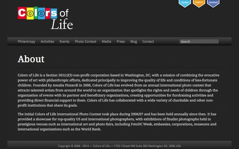 Screenshot of Home Page colorsoflife.org - About - Colors of Life - captured Sept. 30, 2014