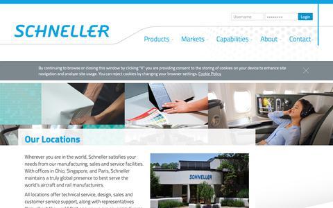 Screenshot of Locations Page schneller.com - Schneller Kent, Ohio   Schneller Singapore   Schneller France - captured Oct. 2, 2018