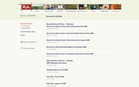 Screenshot of Press Page rossandrewwinery.com - News Reviews and Articles - Ross Andrew Winery - Woodinville, WA - captured Oct. 1, 2014