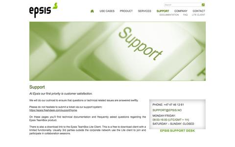 Screenshot of Support Page epsis.no - Support » Epsis AS - captured July 14, 2016
