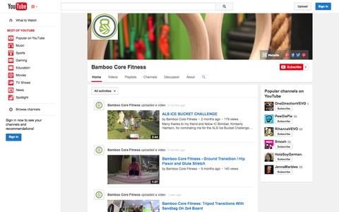 Screenshot of YouTube Page youtube.com - Bamboo Core Fitness  - YouTube - captured Oct. 23, 2014