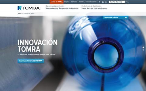 Screenshot of About Page tomra.com - Acerca de Tomra : TOMRA - captured May 26, 2016