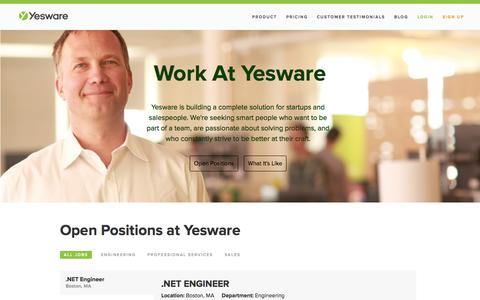 Screenshot of Jobs Page yesware.com - Yesware Jobs & Careers | Yesware - captured Oct. 28, 2014