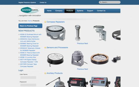 Screenshot of Products Page marine-data.co.uk - Products - captured Sept. 30, 2014