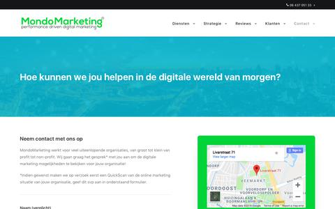 Screenshot of Contact Page mondomarketing.nl - Contact   MondoMarketing - captured Sept. 20, 2018