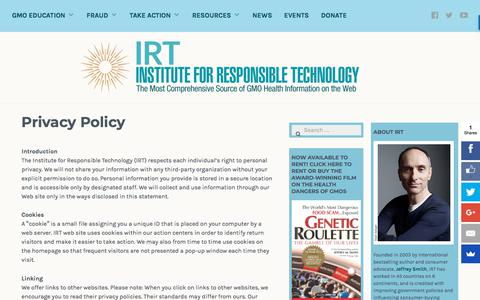 Screenshot of Privacy Page responsibletechnology.org - Privacy Policy – Institute for Responsible Technology - captured Sept. 23, 2018