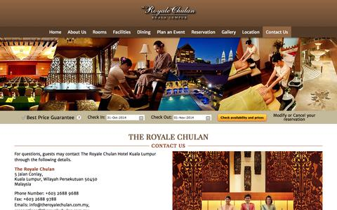 Screenshot of Contact Page theroyalechulan.com - Contact Us | The Royale Chulan Hotel Kuala Lumpur - captured Oct. 31, 2014