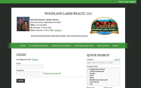 Screenshot of Login Page raaschteam.com - User Login   Tomahawk, WI Real Estate Raasch Team Inc, Realtors of Woodland Lakes Realty,, Selling Buying Homes, Waterfront Homes, Country Homes, Foreclosures, Short Sales and REOs. Serving Tomahawk, Gleason, Irma, Nokomis, Brantwood, Tripoli, Ogema, - captured Feb. 22, 2016