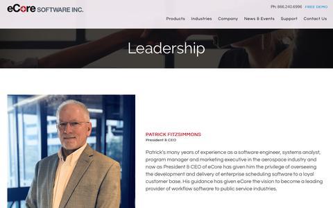 Screenshot of Team Page ecoresoftware.com - Leadership - eCore - captured April 15, 2018